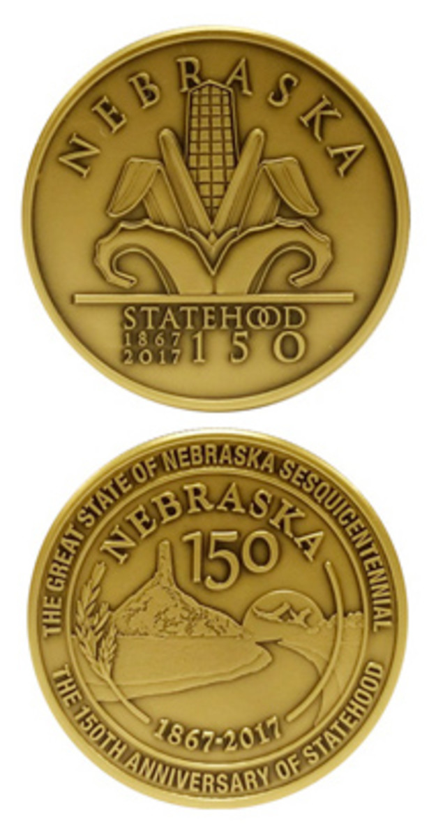 The bronze version of a medal celebrating the 150th anniversary of Nebraska statehood.