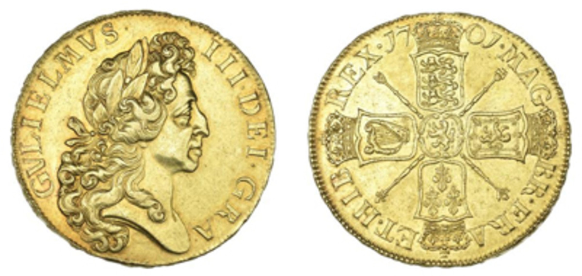 William III 5 guineas of 1701 (KM-508; S-3456) that will be offered in EF with an estimate of $25,000-35,000. (Images courtesy DNW)