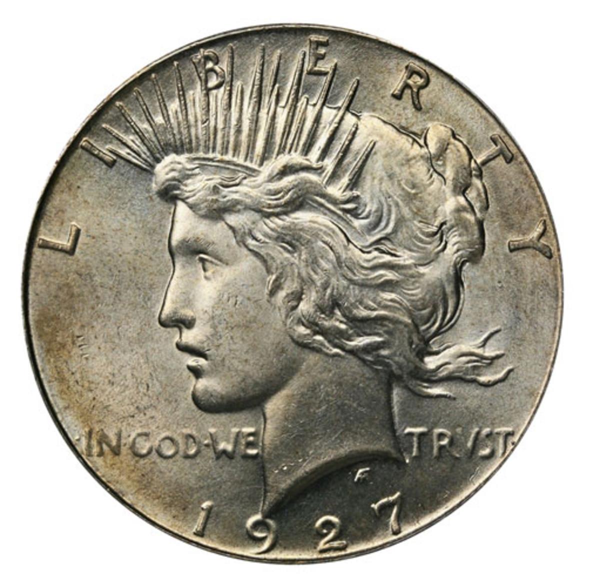 A 1927 Peace dollar. (Image courtesy USA Coinbook)