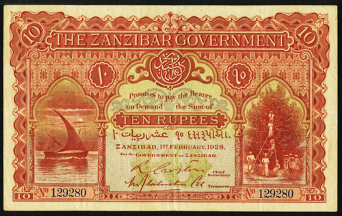 Top-selling issued Zanzibar 10 rupees of 1 February 1928 (P-3) that realized $87,000 graded PMG Very Fine 30 at Heritage Auctions' January FUN sale in Orlando. (Image courtesy and © www.ha.com)