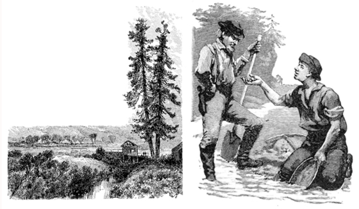 Left: Sutter's Mill, where gold was discovered in early 1848. Right: California gold panning.