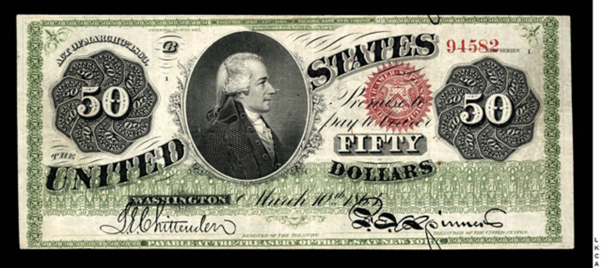 An 1863 Legal Tender $50 is estimated at $100,000 to $200,000.