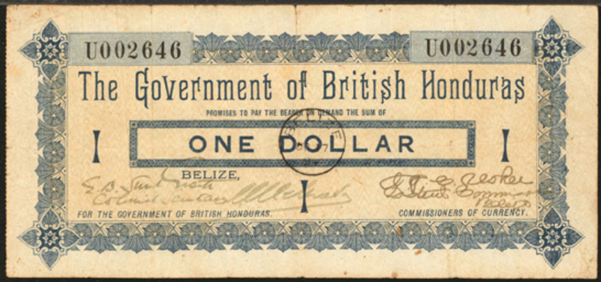 One of three known specimens of the first issue British Honduras one dollar note will be offered by Stack's Bowers.