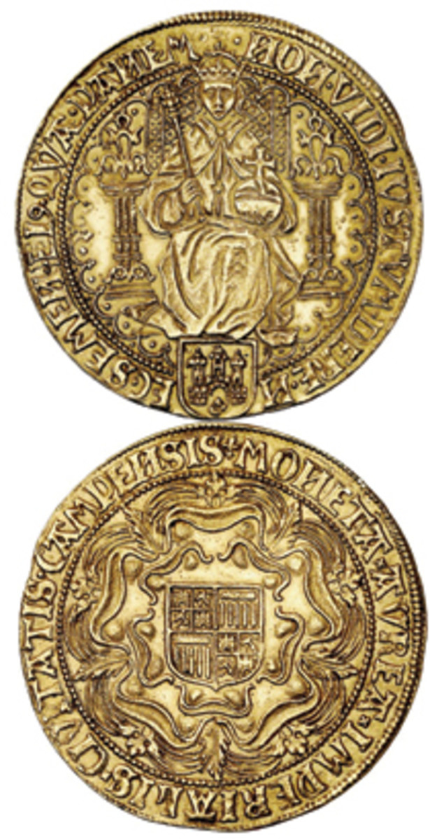 Imitation is the sincerest form of flattery: double rose noble of 1600 struck in the Netherlands in imitation of an Elizabeth I sovereign. In EF it hammered for $92,000 at Kuenker. (Images courtesy Kuenker)