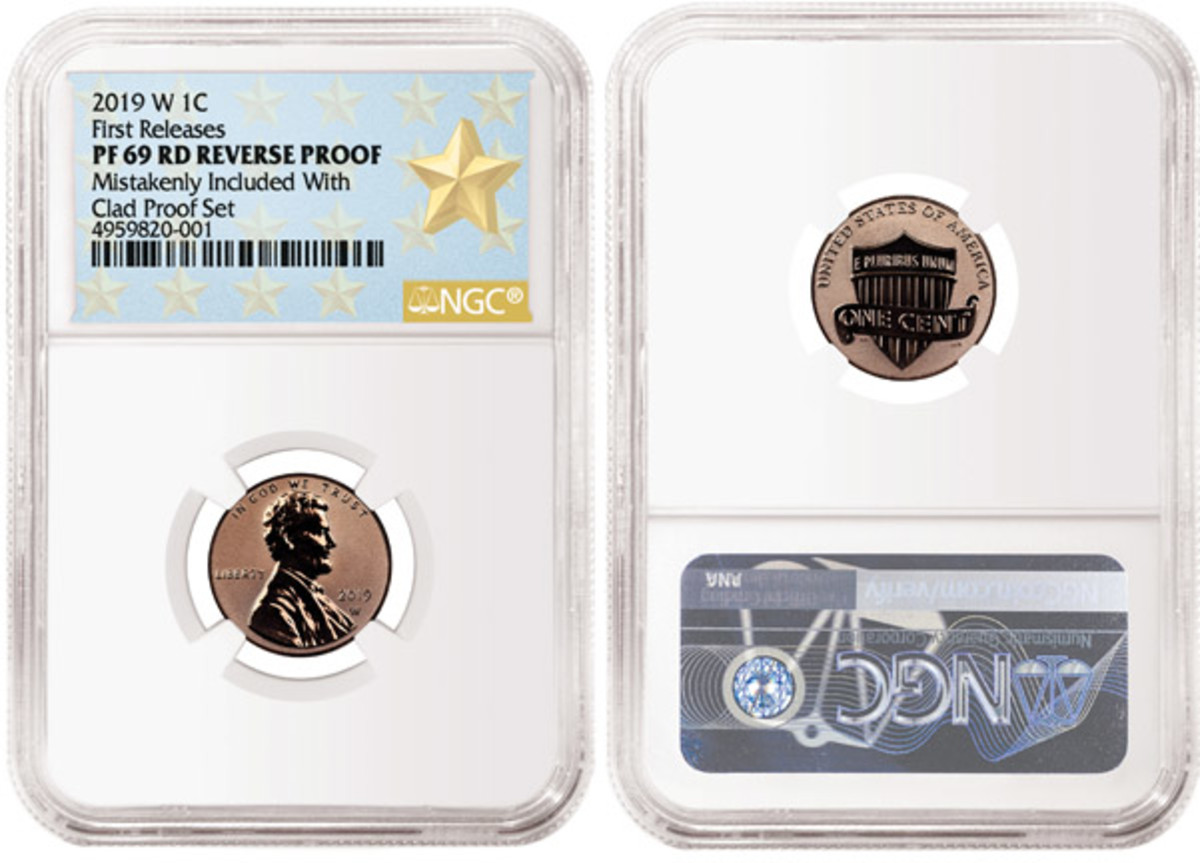 Graded NGC PF69 RD REVERSE PROOF, this coin is the first 2019-W Reverse Proof Lincoln Cent that NGC has graded.