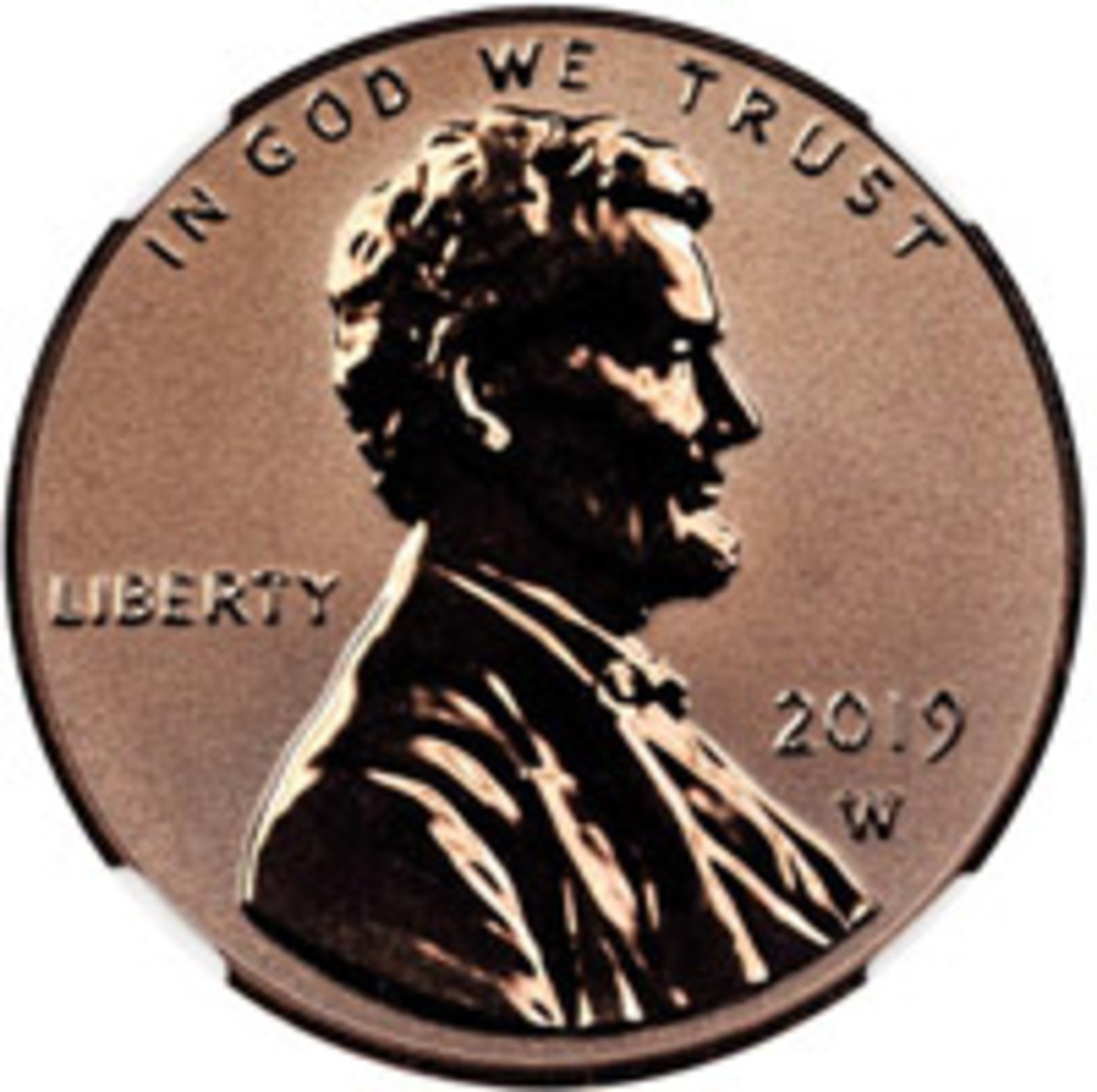 Close-up view of the 2019-W Reverse Proof Lincoln Cent obverse, which was mistakenly released early by the U.S. Mint.