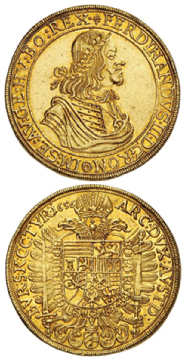 The rare 10 ducat of Ferdinand III struck in Vienna in 1656 that topped Kuenker's summer sale with a price of $120,750 in EF-FDC. (Images courtesy Kuenker)