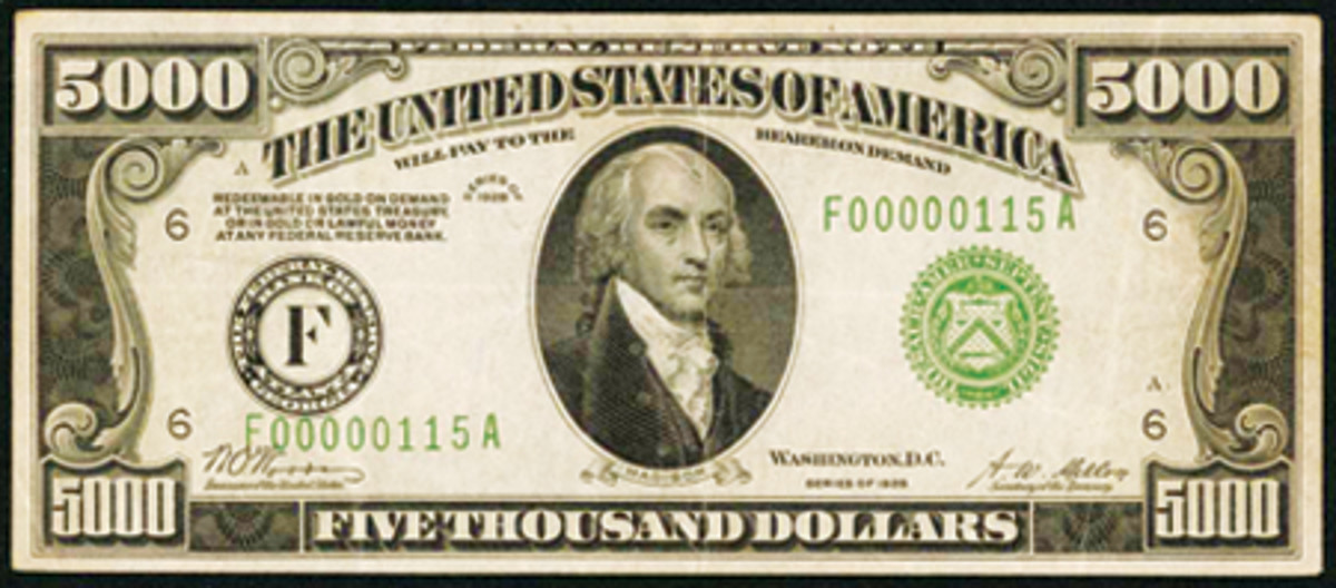 This 1928 $5,000 Federal Reserve Note led all lots in the Stack's Bowers sale at the American Numismatic Association's World's Fair of Money in Denver on Aug. 2.