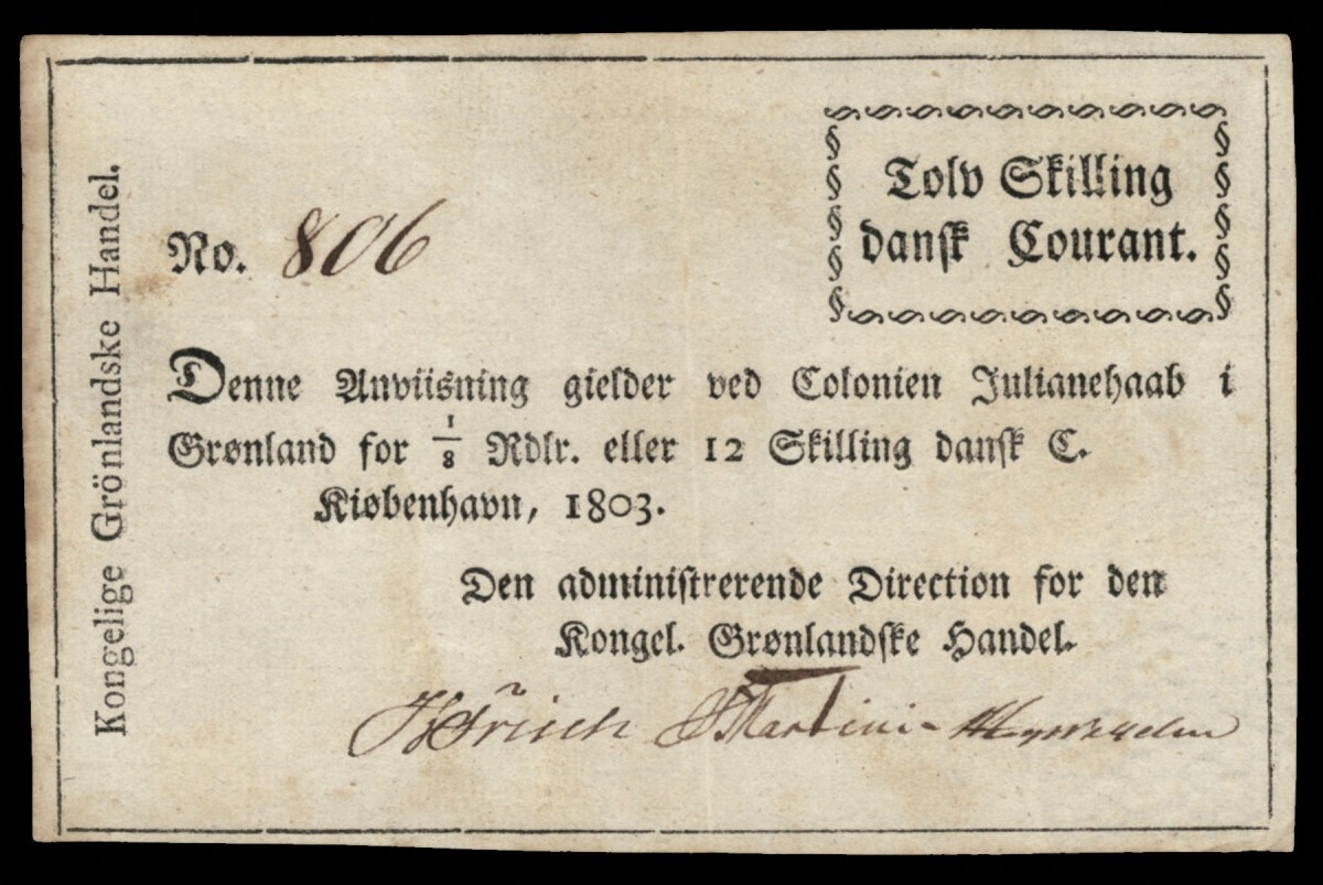 Rare and highly collectable one year of issue Greenland 12 skilling of 1803 (P-A1) produced by Denmark's Kongelig Grønlandske Handel. (Image courtesy Lyn Knight Auctions.)