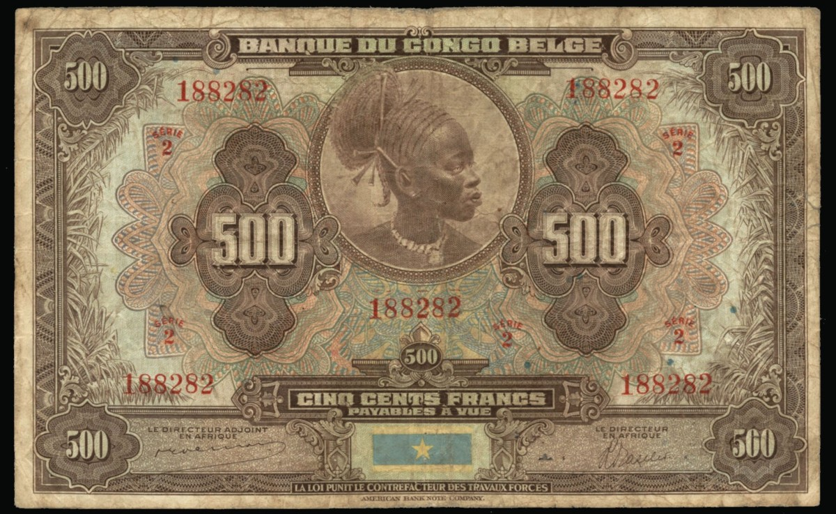 Seldom seen Belgian Congo 500 francs c. 1941 (P-18Aa) unpriced in any condition in SCWPM. (Image courtesy Lyn Knight Auctions.)
