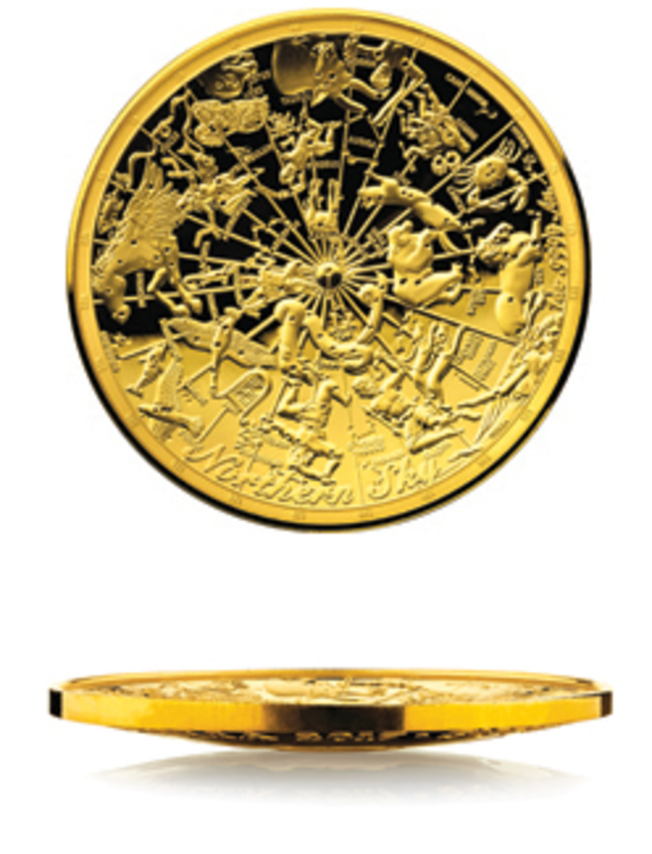 The reverse and profile of the gold domed $100 proof displaying the classical constellations of the northern night sky in their traditional mythological forms. (Images courtesy & © RAM)
