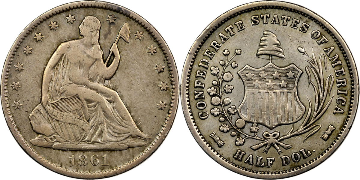 An 1861 Confederate half dollar pedigreed to Confederate President Jefferson Davis.