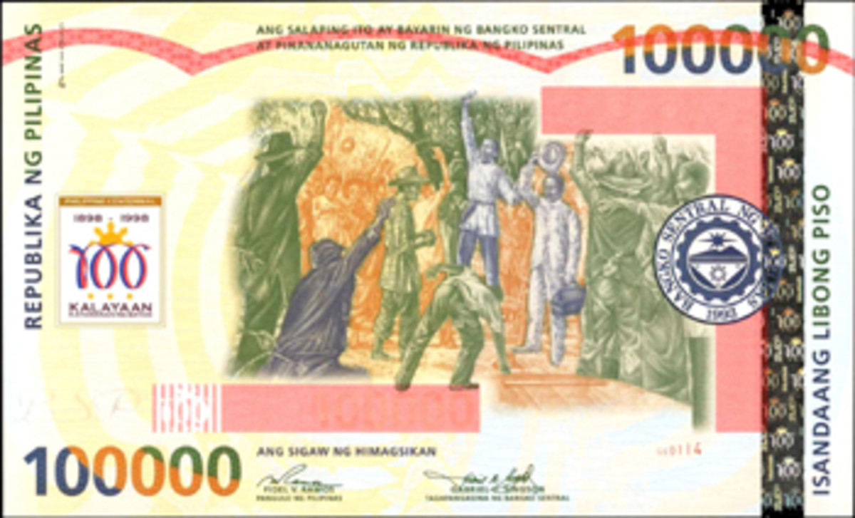 Modern Philippine rarity: Bangko Sentral Ng Pilipinas 100,000 Piso, P-190, produced in 1998 to commemorate the centennial of the First Republic. This example realized for $15,275.