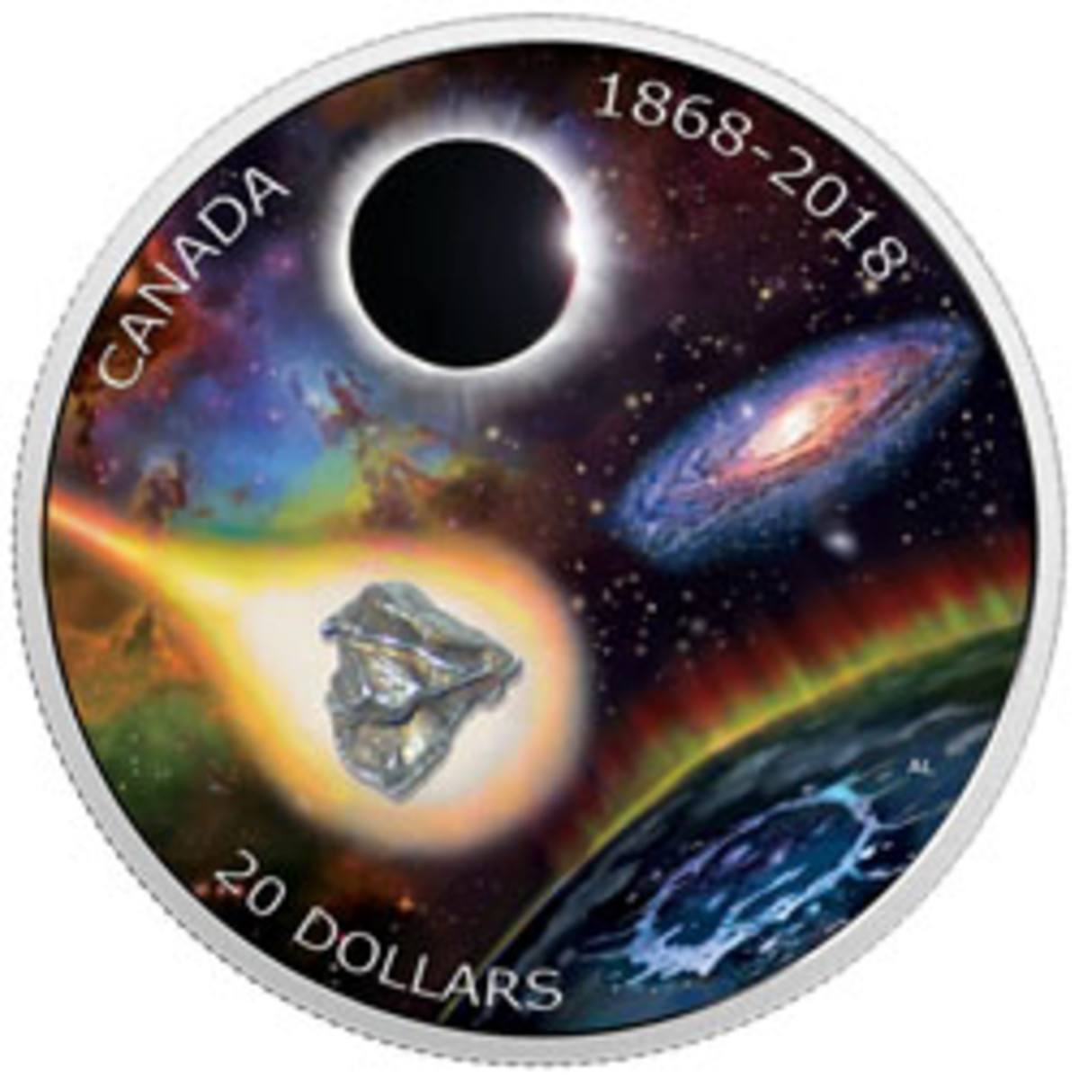 Reverse of Canada's proof $20 celebrating the 150th anniversary of the founding of The Royal Astronomical Society of Canada. Note fragment of Campo del Cielo iron. (Image courtesy Royal Canadian Mint)