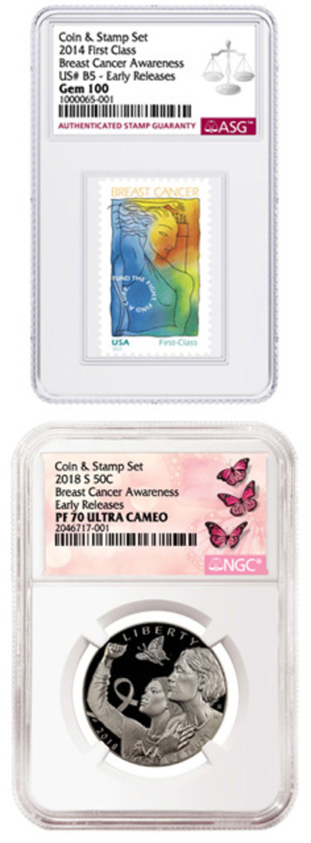 A special Breast Cancer Awareness stamp and coin set will be slabbed by Authenticated Stamp Guaranty and the Numismatic Guaranty Corporation when it goes on sale Oct. 1. (Photos courtesy of ASG and NGC)