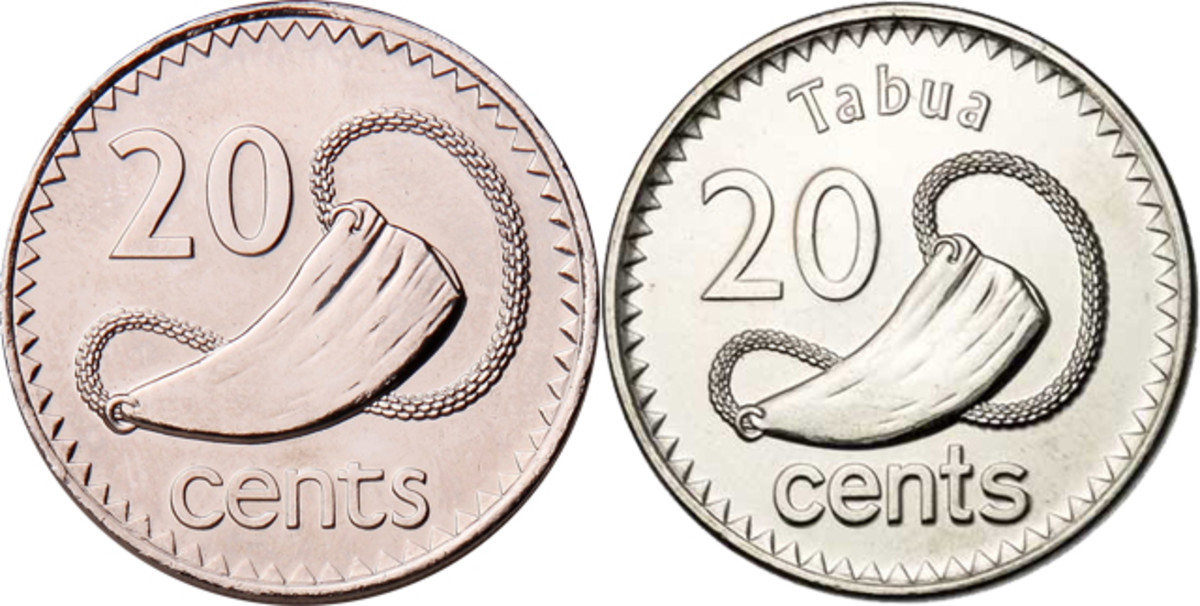 Tabua has featured on the reverse of Fiji's 20 cents since 1969. Left, 28.5 mm cupronickel piece from 1969, KM-121; right, smaller nickel-plated steel version from 2012, KM-334.