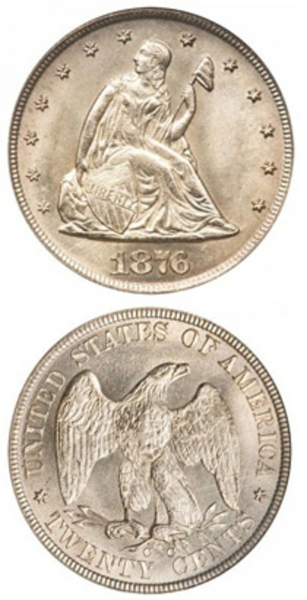 The 20-cent denomination introduced in 1875 was unpopular with the public from the start. Today, the 1876-CC Seated Liberty is both tough and rare. (Images courtesy www.usacoinbook.com)