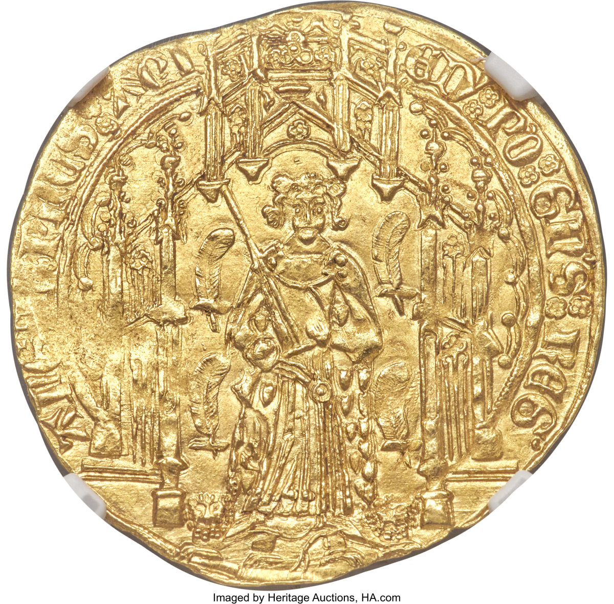Anglo-Gallic hammered gold from The Hundred Year's War: obverse of superb pavilion d'or of Edward the Black Prince (1330-1376) that comes graded MS64 NGC. (Image courtesy Heritage Auctions.)