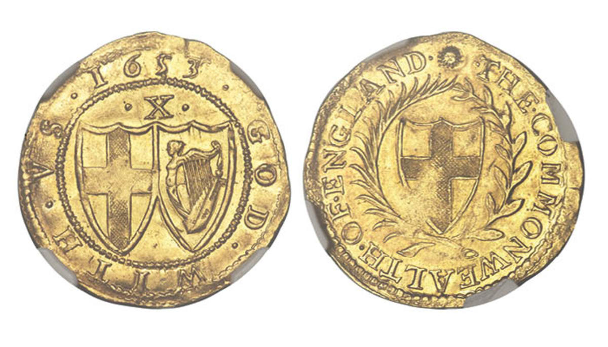 High-grade Commonwealth double crown of ten shillings of 1653 with sun mm (S-3210). It will be offered in (MS64 NGC). (Images courtesy Heritage Auctions.)
