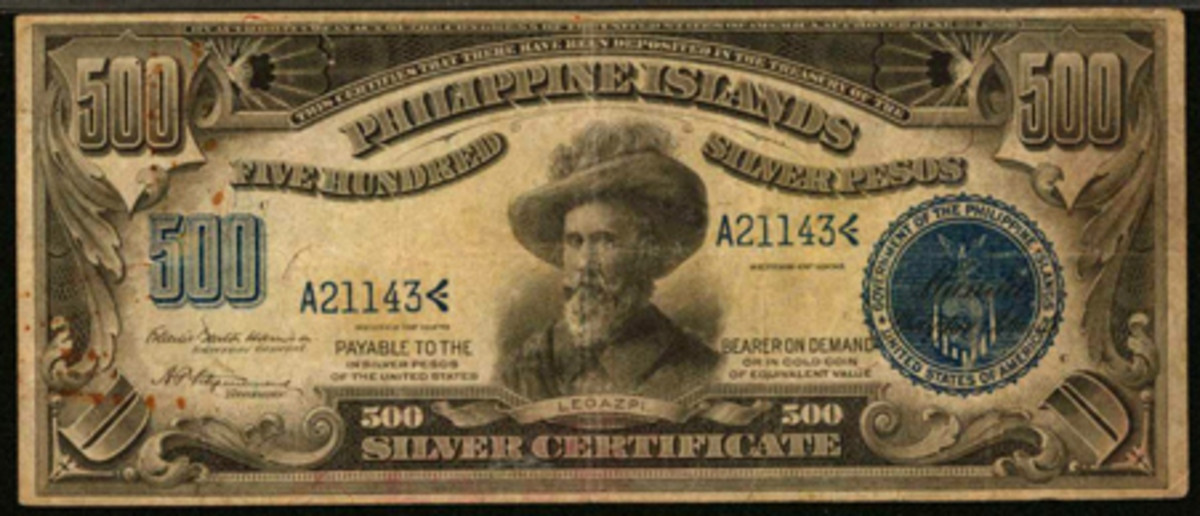 Extremely rare and desirable Philippines 500 pesos Silver Certificate of 1906, P-33c, that sold at Stack's Bowers' ANA world paper sale for $39,950 graded PMG Very Fine 25 Net Rust.