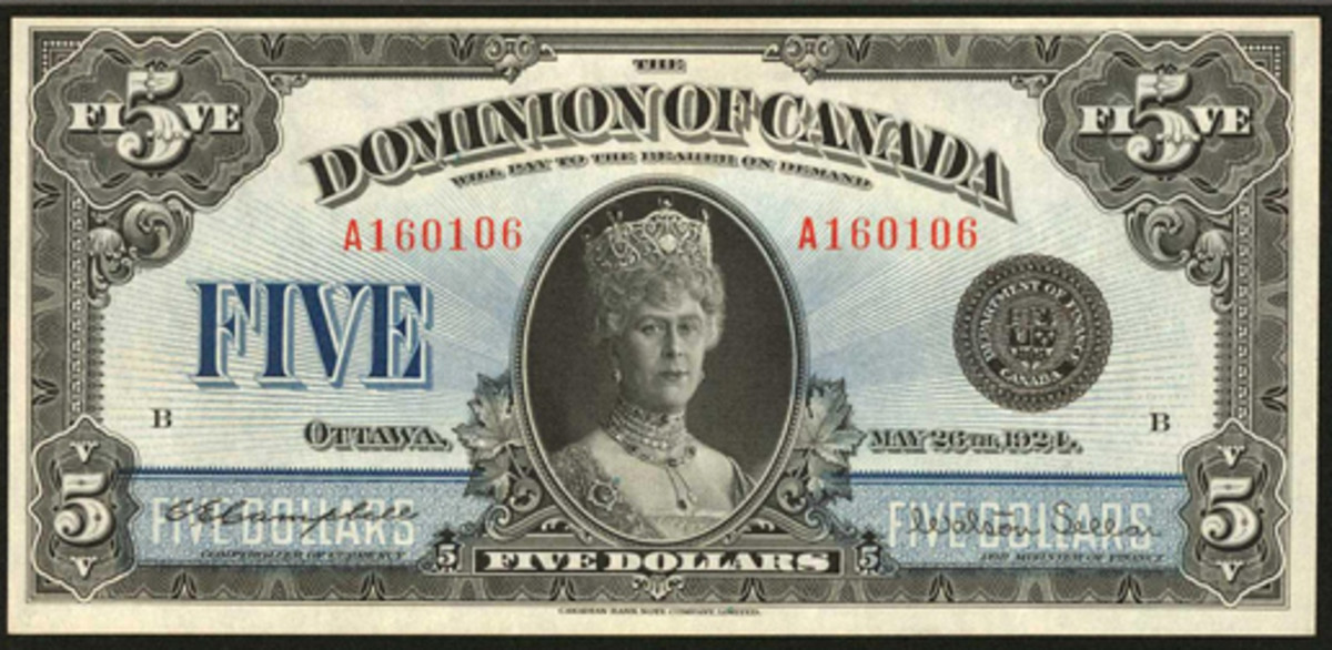 Canadian rarity: $5 of 1924, P-35, featuring Queen Mary. In PMG About Uncirculated 50 EPQ it realized $14,100.