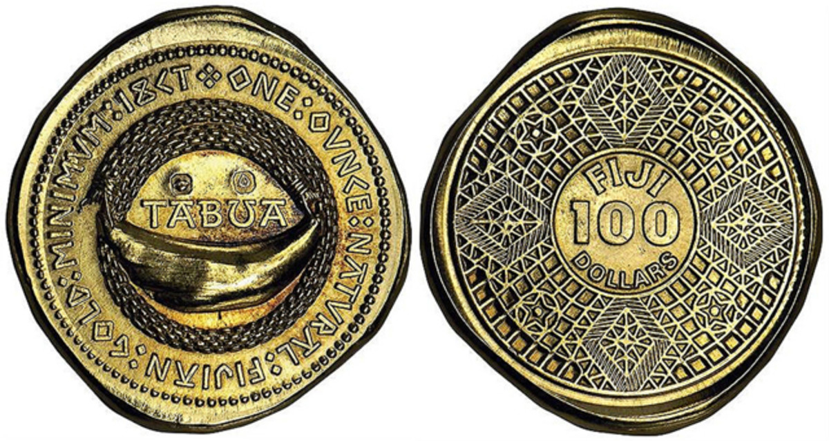 A tabua provided part of the obverse design of Pacific Sovereign Mint's short-lived hammered gold $100, lending its name to this distinctive coin. Image courtesy Stack-Bowers.