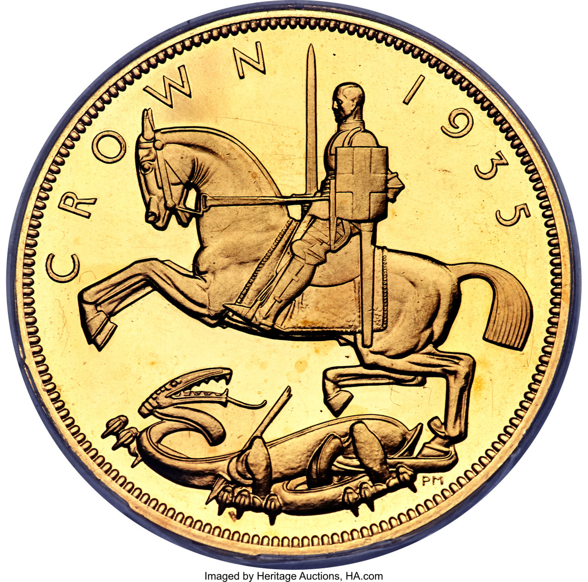 Desirable modern British milled gold: one of just 28 proofs struck in gold of George V's Jubilee 1935 crown (KM-842b; S-4050). It will go to the block in a superb PR65 Deep Cameo PCGS. (Image courtesy Heritage Auctions.)