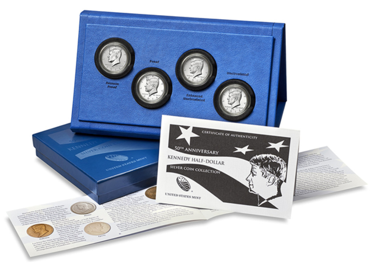 Priced at $99.95, the set will feature a proof half dollar from Philadelphia, an uncirculated half dollar from Denver, a reverse proof coin from West Point and an enhanced uncirculated coin from San Francisco.