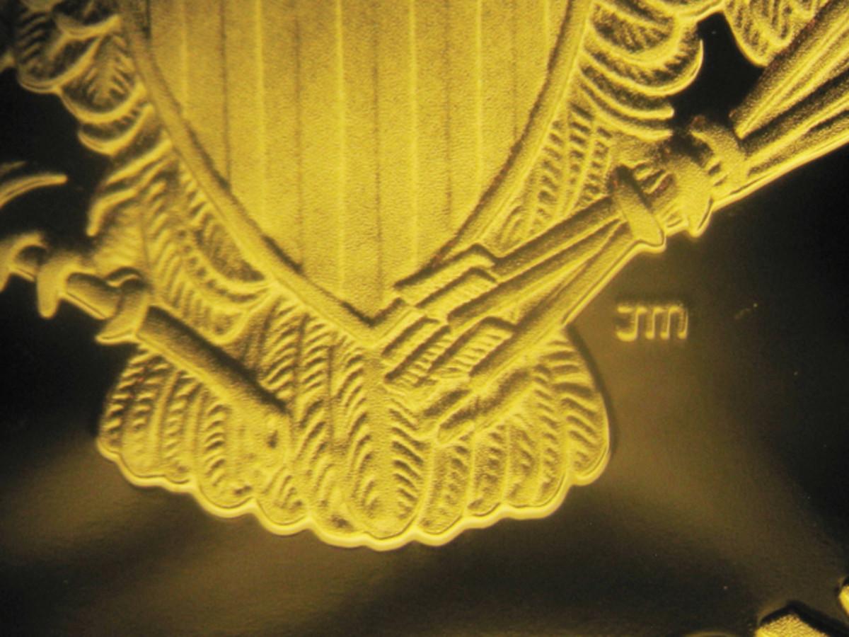 Genuine proof silver Eagle's eagle and shield.