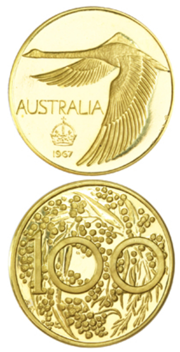 "Rare gold Mezaros pattern Australian ""Goose dollar"" of 1967 that was sold recently for $22,188 by Roxbury's Queensland auction house. (Images courtesy & © Roxburys)"