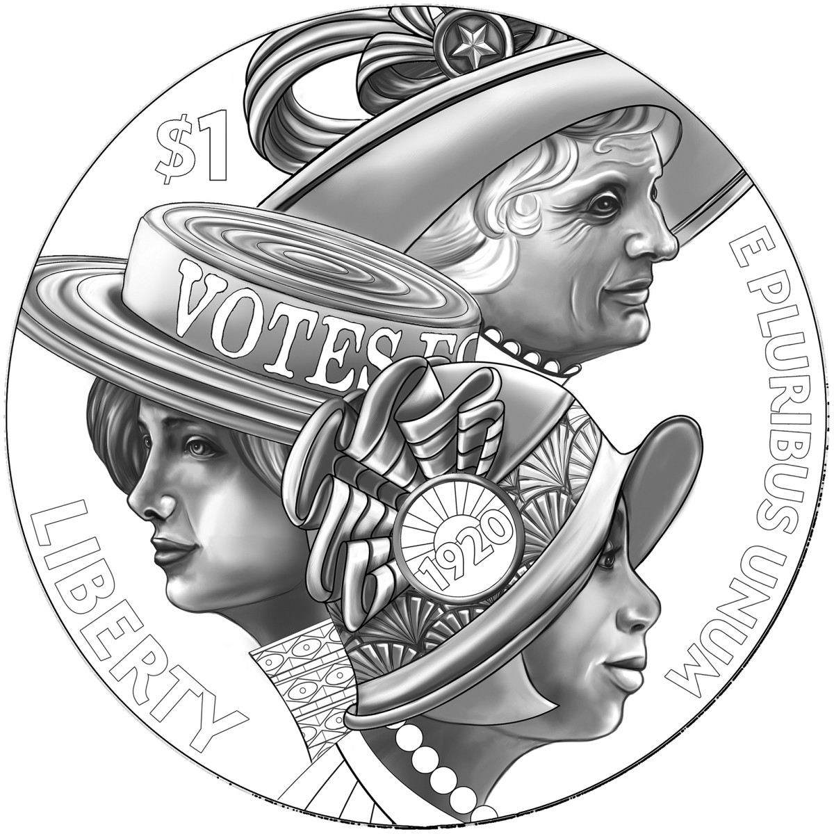 Line art for the obverse of the new silver dollar commemorating the centennial of women's suffrage. (All images courtesy U.S. Mint)