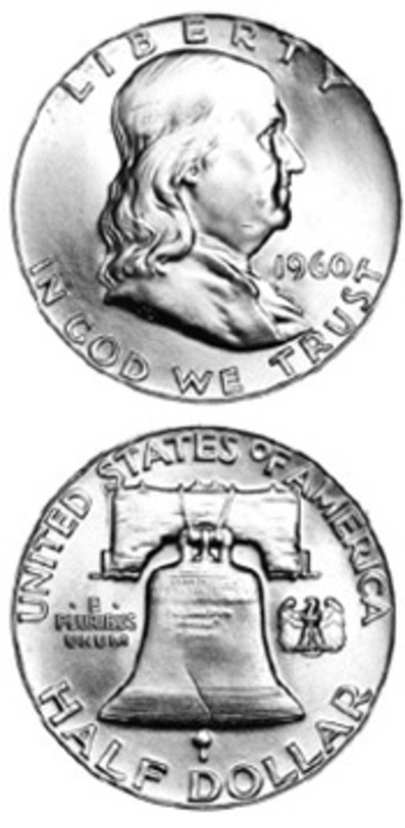 An initial lack of interest, combined with a rush to cash in silver coins for a high melt price, has left a limited supply of the 1960 Franklin half dollar. (Image courtesy www.usacoinbook.com)