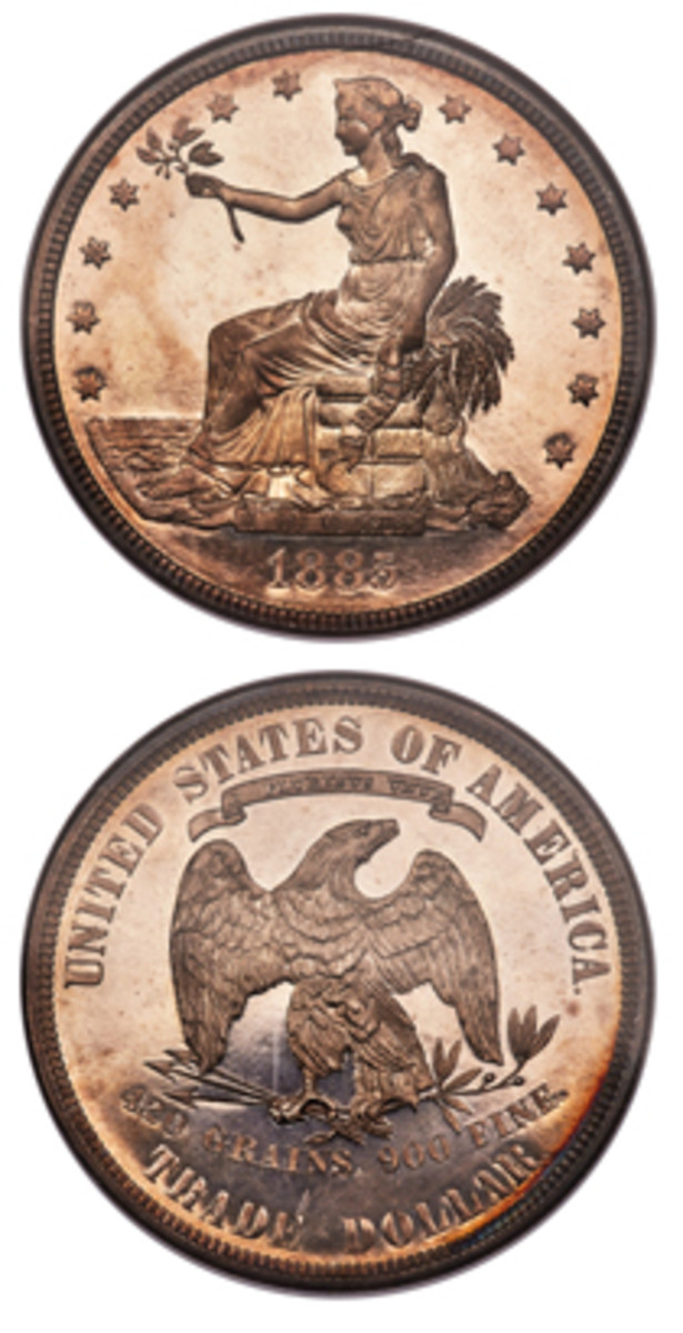 Appearing at public auction for the first time since 1997 is one of five examples of the 1885 Trade dollar that will be offered by Heritage Auctions Jan. 11, 2019, at the Florida United Numismatists convention in Orlando.