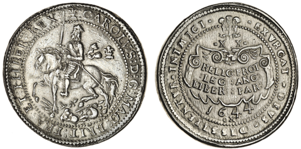 Charles I Oxford pound of 1644 (S 2943, KM-340) by Thomas Rawlins showing the monarch astride a spirited horse trampling the arms of his enemies. In superb aEF it romped to $221,075 [£144,000] on an upper estimate of $122,816 [£80,000]. Image courtesy © Spink London.
