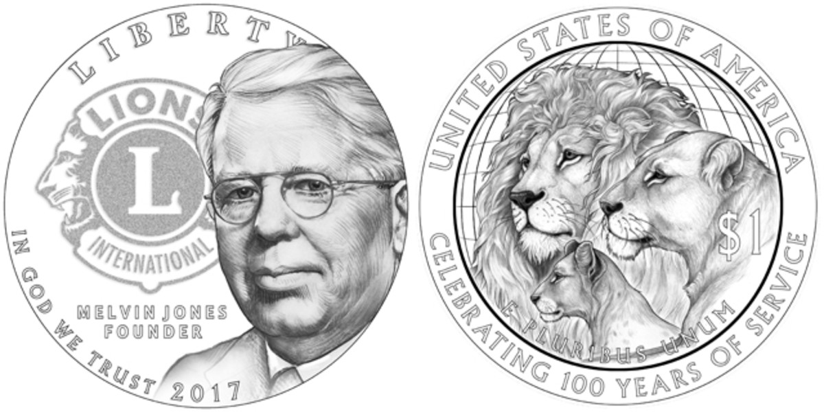 Obverse and reverse of the 2017 Lions Club commemorative silver dollar.