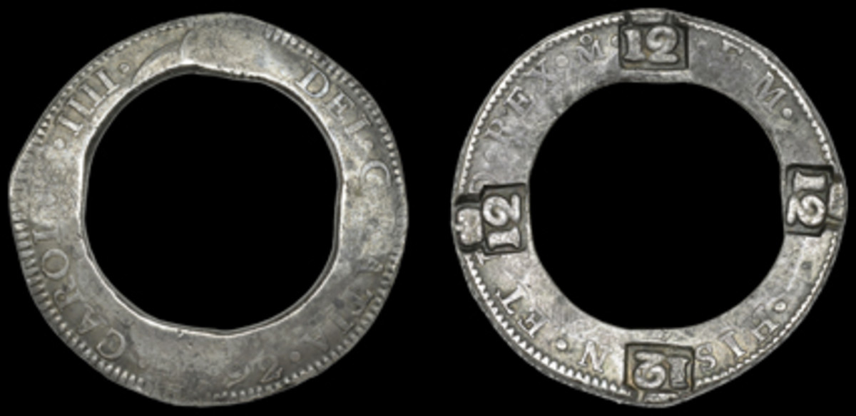 One of two known Dominican 12 bitt dollars (nine shillings) countermarked on the reverse of a Charles IIII 8 réales, 1792FM, centrally pierced with an over-large circular hole (Pridmore 26, KM-7). A contemporary counterfeit ex Pridmore Collection. (Images courtesy DNW)