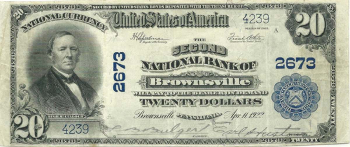 This nice grade Series of 1902 $20 note from the Second National Bank of Brownsville is from the author's collection. It was really intriguing to see the now derelict bank from whence this note emanated.