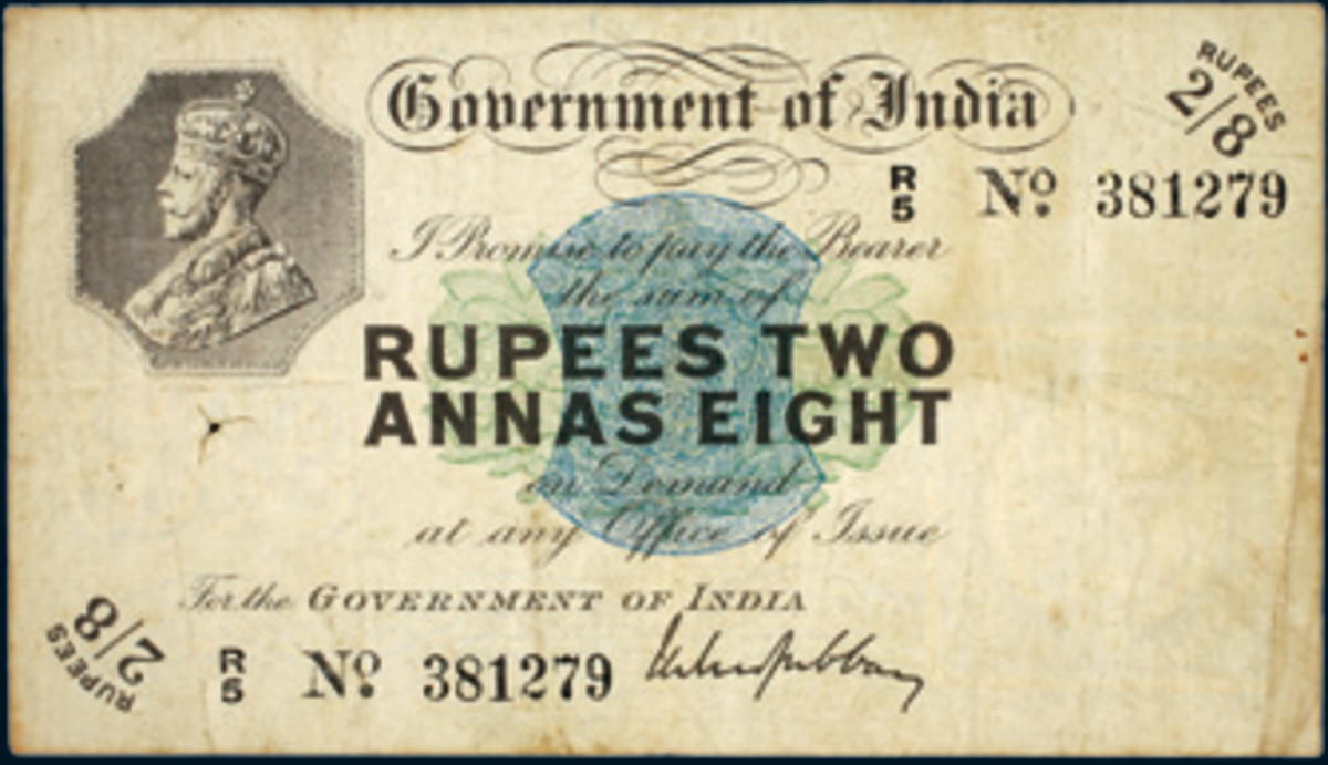 Scarce George V two rupees eight annas of 1918, P-2, that was bid up to $4,680 in good F in Noble Numismatics' recent sale.