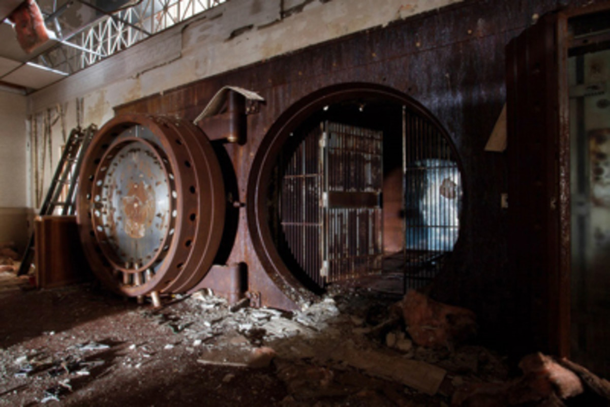 The interior of the Monongahela National Bank is completed trashed. This massive vault on the main level once housed the bank's riches, including loads of cash in national currency.
