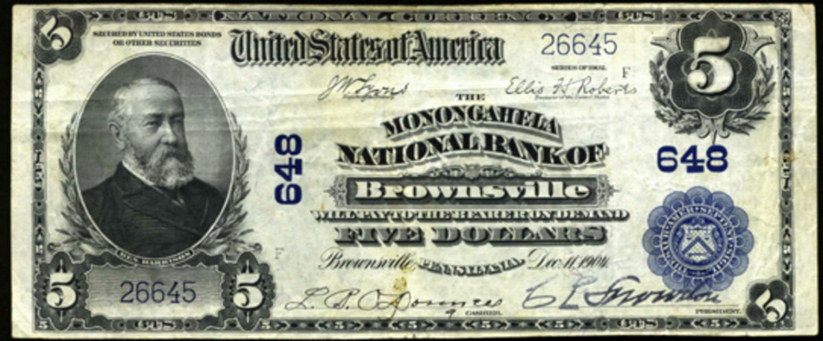 This Series of 1902 $5 note, also from the author's collection, hails from the Monongahela National Bank. Note the signatures of L.R. O'Donnell, assistant cashier, and C.L. Snowdon, president.