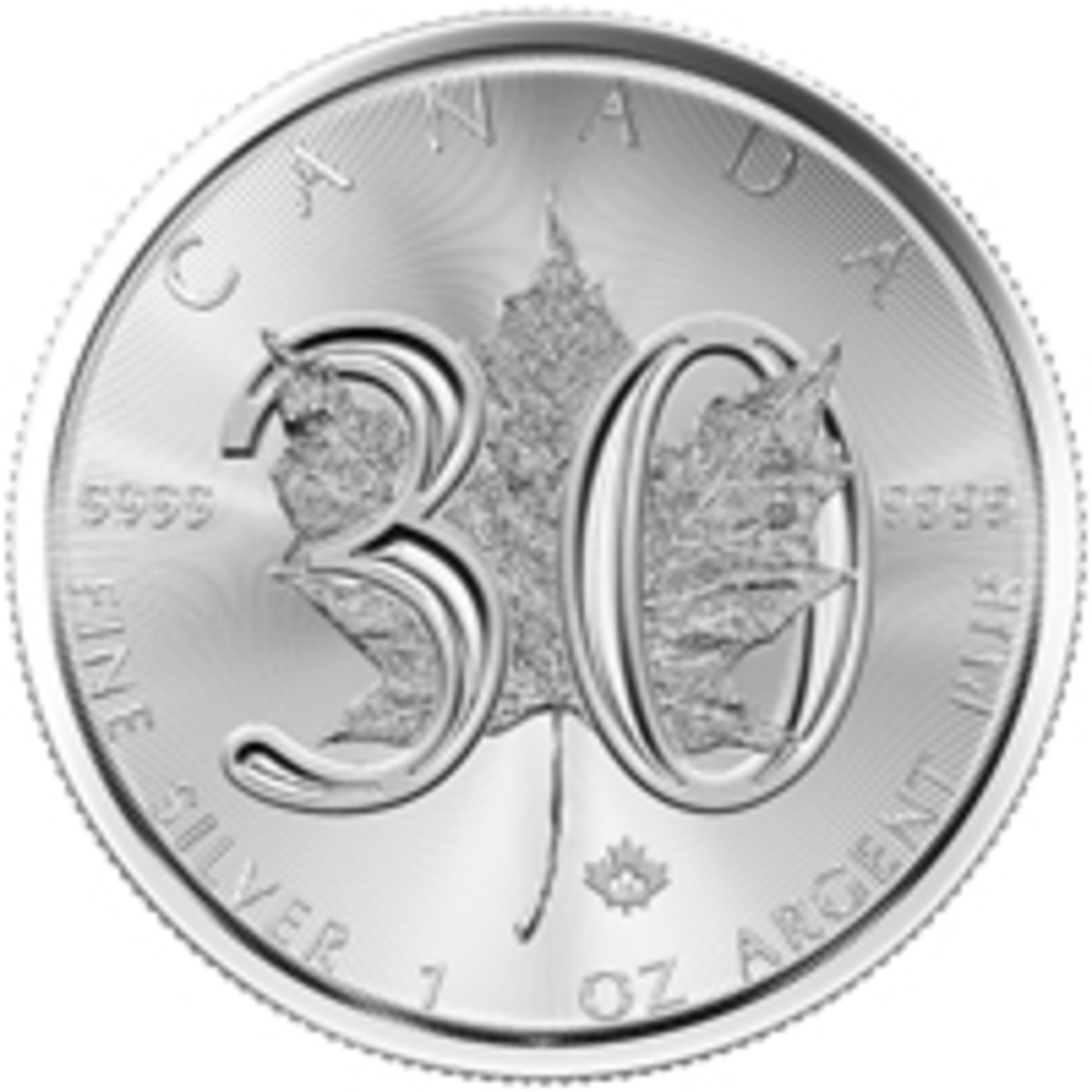 Reverse of RCM's silver $5 marking the 30th anniversary of the Silver Maple Leaf bullion coin. (Image courtesy RCM)