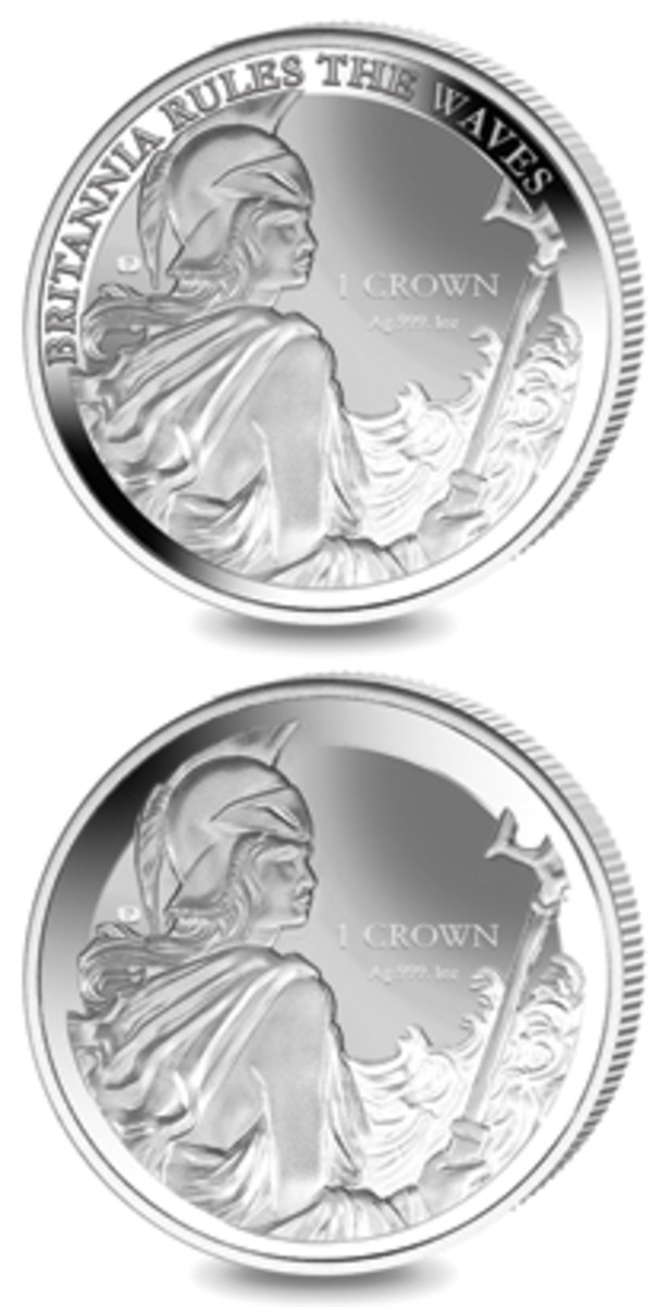 The two Britannia reverses of the 38.60 mm. 31.103 g Falklands Islands 2017 crown. Top: the original showing the trademark-breaching legend; bottom: as reissued inscription-free. (Images courtesy Pobjoy Mint)
