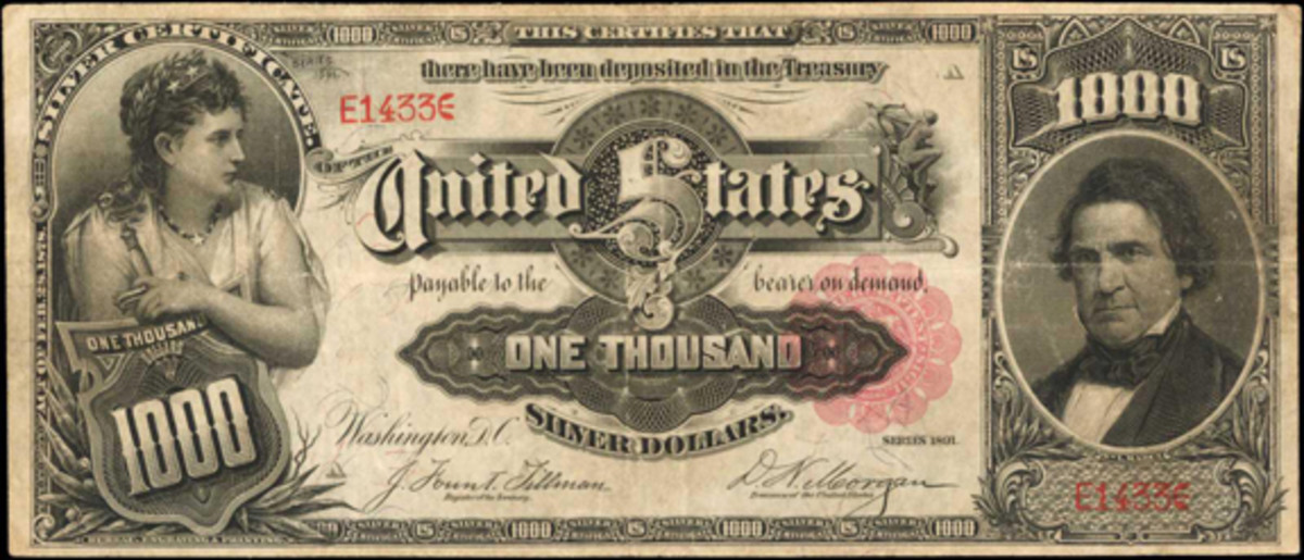 1891 $1000 Silver Certificate, PCGS Currency VF25. (Image courtesy Stack's Bowers)