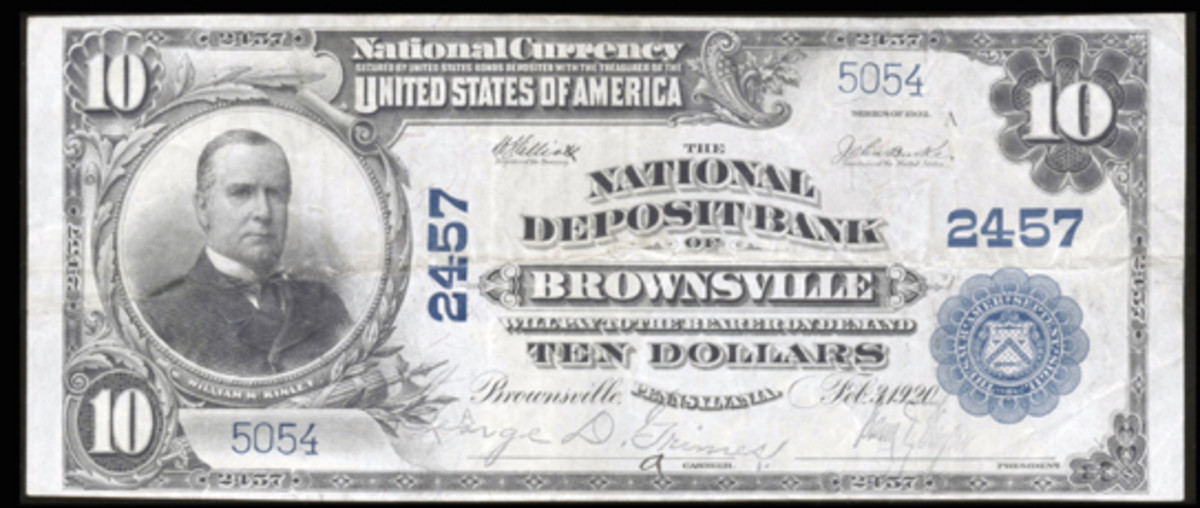 Here is a similar $10 large note from the National Deposit Bank of Brownsville. (Photo courtesy Heritage Auctions)