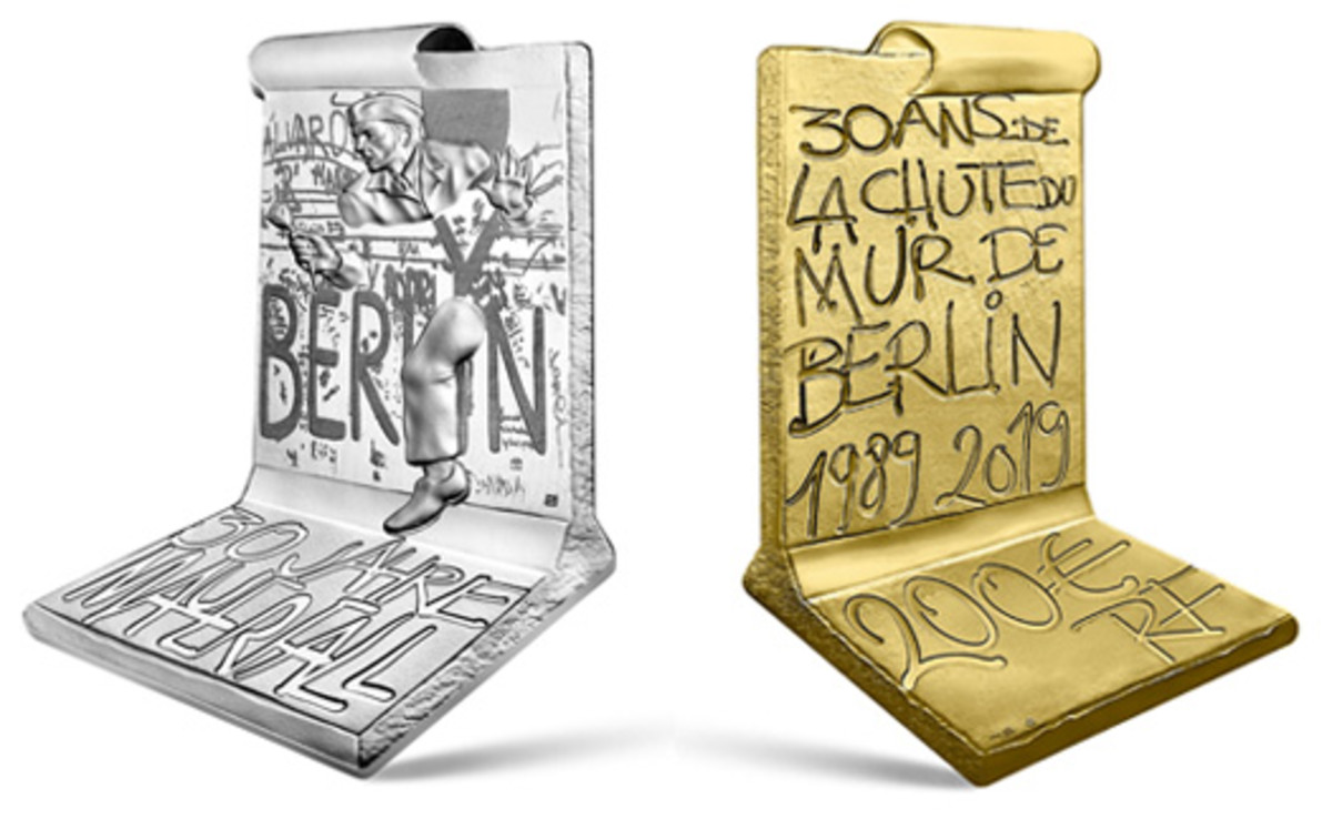 Silver €10 obverse and gold €200 reverse of the innovative commemoratives marking the 30th anniversary of the Fall of the Berlin Wall. (Images courtesy & © Monnaie de Paris)