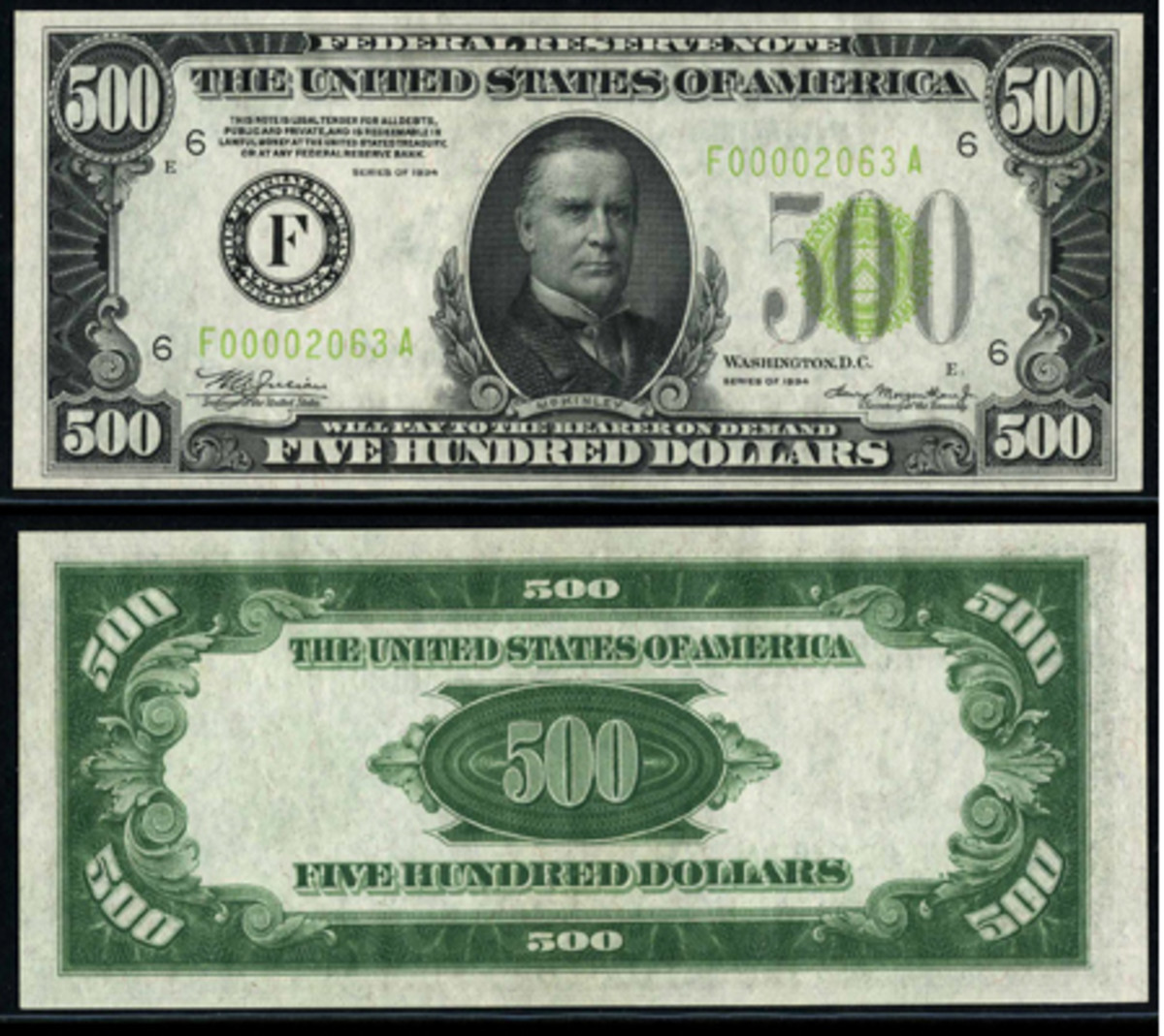 Just one of 12 gem district 1934 $500 Light Green Seal Federal Reserve Notes (2201-F Atlanta, GEM 65 PPQ) that will be on display as part of The Stradivarius Collection during the International Paper Money Show in Kansas City, Mo.
