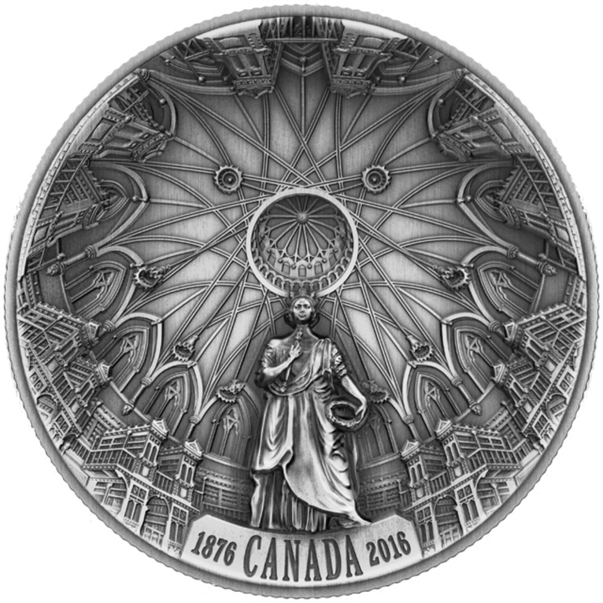 The reverse of Canada's new domed $25 struck in ultra-high relief. Image courtesy and © RCM.