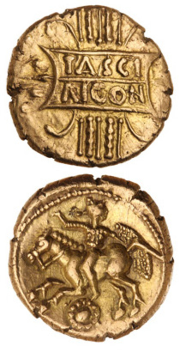 One of the finest known inscribed TASCI RICON gold staters struck in Britain by Tasciovanos, sold for $9,361 in Noble's July sale in Sydney. (Images courtesy Noble Numismatics)