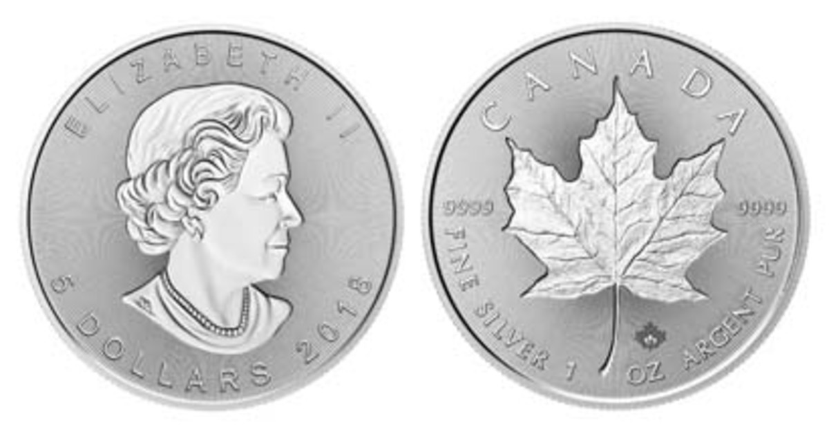Mint first: incuse images of both the Queen and maple leaf feature on this silver $5 celebrating Canada's Silver Maple Leaf anniversary. (Image courtesy RCM)