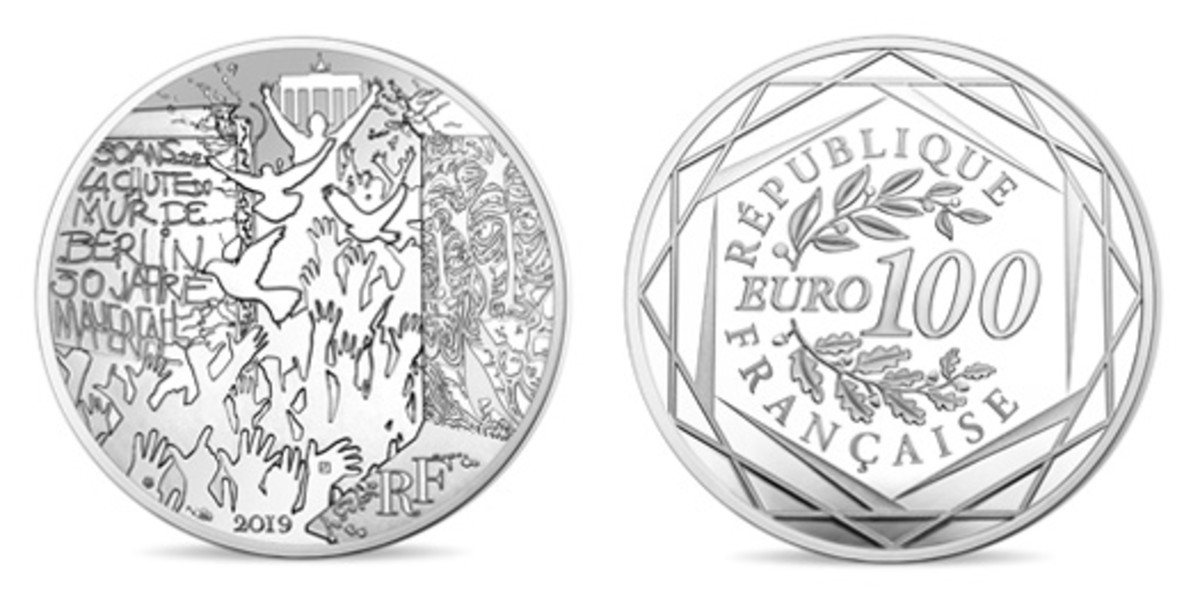 BU silver €100 whose obverse depicts a joyous German crowd bursting through a breach in the much tagged Berlin Wall. (Images courtesy & © Monnaie de Paris)